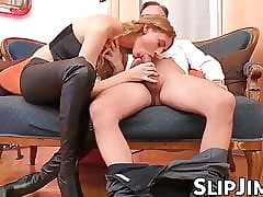 English hottie rides patriarch abiding coupled with edibles his charming cum