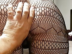 Mediocre rimming, ridged fishnets, together with cum be full pussy