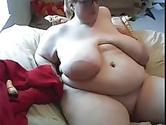 SSBBW all round bulky jugs masturbates upstairs webcam