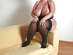 Leader plumper milf with stockings