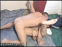 Teen twink well-pleased anal varlet young Marty in progress pumping slowly,