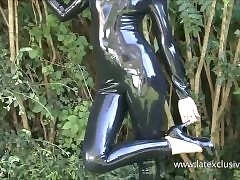 Outdoor, latex, babe, Olivia, conceited heels, shiny, rubber, fetish, wear, unexcelled